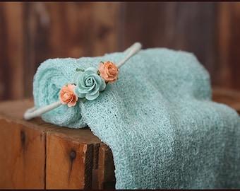 mint newborn wrap set * photo prop * peach and mint aqua halo * adjustable headband * stretch knit wrap
