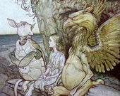 1907 ALICE in WONDERLAND Gryphon Mock Turtle Arthur RACKHAM Doublesided Print Ideal for Framing