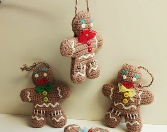 Crochet Hanging Gingerbread Man Festive Decoration - Eco-friendly - Unbreakable and tactile - Home décor - Holiday Season - One item only