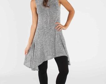 Grey Tunic -  Jersey Knit Tunic Hoodie Resort Wear xs s m l xl