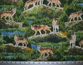 Robert Kaufman Fabric Bringing Nature Home Wolf Wolves Scenic River Evergreen Al Agnew 100% Cotton Quilting Craft Sew