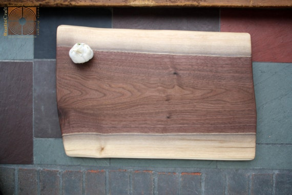 Rustic Wedding Gift - Personalized Wood Cutting Board - Black Walnut Live Edge Slab - Engagement Gift 682