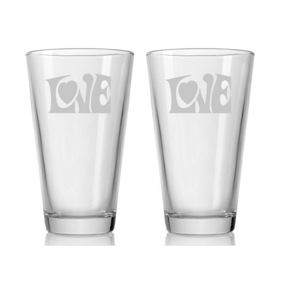 Engraved Wedding Beer Glasses : Engraved Beer Glasses / LOVE / Wedding Glasses / Set of 2 / Pint ...