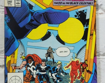 The Fantastic Four Comic Book.  Volume 1 Number 340 May 1990 24. 1991. The Fantastic Four Versus the Black Celestial. Nerd Gift.