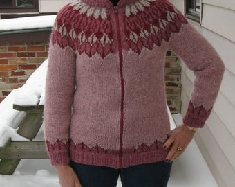 Vintage Fair Isle style Cardigan Zipper Sweater Burgandy Wool Jumper
