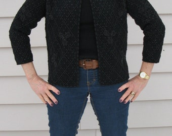 Vintage 1950's Black Beaded Cardigan Sweater