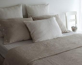 LINEN DUVET COVER - natural duvet cover - pinstripe duvet cover - striped duvet cover - queen duvet cover - king duvet cover - white linen