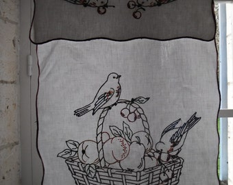 French Vintage Linen ,Embroidered, Bird ,Basket of Fruit, Drape Curtain Panel  Shabby French Country Living