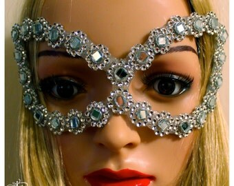Silver mirror costume Mask showgirl burlesque go go dancer cosplay comix super hero Halloween dress up theme party mask by Maria Luck