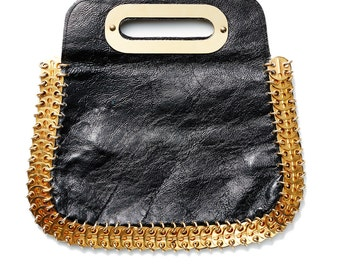 Clearance SALE was 950 now 600 insanely cool vintage 60's PACO RABANNE patent leather gold metal disc purse clutch bag