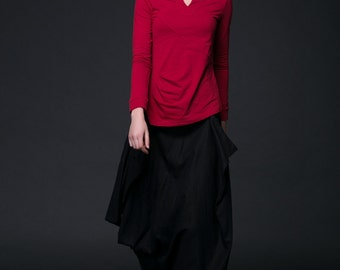 Black Linen Skirt - Modern Contemporary Asymmetrical Long Casual Woman's Designer Skirt with Ruched Details & Pockets C523