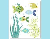 Baby Boy Nursery Prints, Nursery Wall Art, Nautical, Fish, Sea Life, Ocean Nursery, Marine, Blue Green, Aqua, Teal, Kids Art, Children Decor