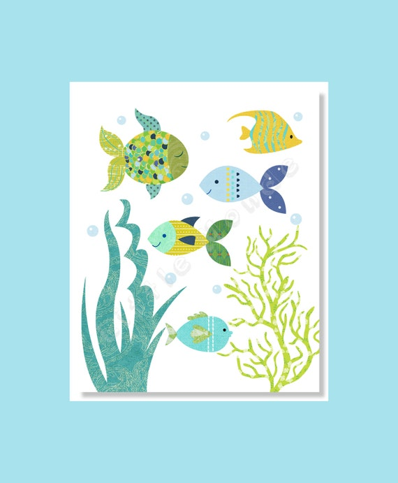 Baby Boy Nursery Prints Nursery Wall Art Nautical Fish Sea Life