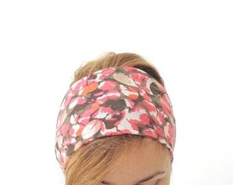 fabric headbands for women , wide headband , yoga head band , head wrap , floral pink and mocha