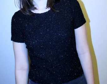 90s Black Glittery Sparkle Top
