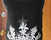 1960s Beaded Shell Top. 60s Palio Sleeveless Sweater. Black and White Mod Shirt.