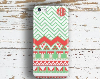 Gifts for young girls, Monogram Iphone 5c case, Chevron Iphone 5 case,  Summer fashion Iphone with Tribal and pattern in coral green (1300)