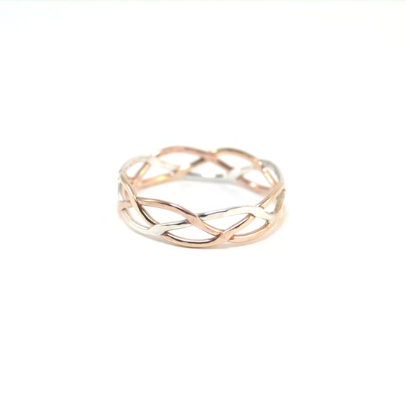 Hammered Tri Color Braided Ring - Pink Gold, Yellow Gold, Sterling Silver