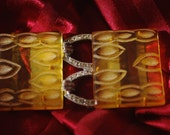 Hard Carved Yellow Translucent Celluloid Belt Buckle with Rhinestones Loops