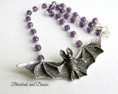 Bat Necklace with Purple Glass Beads