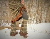 ForestFairy-Upcycled SKIRT-n-LEGWARMERS-earthy tones=folk,travelin', journey wear...LOVE