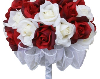 Red and Ivory Silk Rose Hand Tie (36 Roses) - Silk Bridal Wedding Bouquet