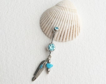 Turquoise belly button ring, feather,belly button ring,silver belly ring,tribal,indian,native american jewelry,southwestern,TURQUOISE belly