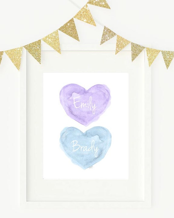 Lavender and Blue Art, 8x10 Personalized Print for Siblings