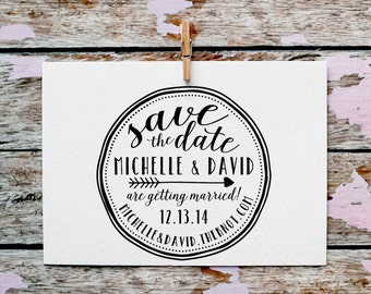 Save the Date Stamp, Calligraphy Rubber Stamp, Wood Slice Stamp, Wedding Favor Stamp, Wedding Invitation Stamp, Save The Dates