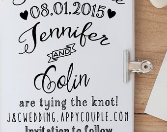 Save the Date Rubber Stamp, Wedding Rubber Stamp, Wedding Invitation Stamp, Custom Rubber Stamp, Calligraphy Rubber Stamp
