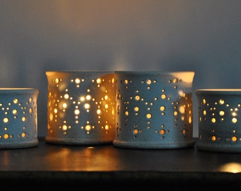 "In stock! Handmade Ceramic Luminary, ""Alhambra,"" in Speckled Cream, Short or Tall. Naomi Anita's Holiday Luminary Collection"