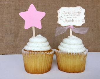 Twinkle Twinkle little star Vintage Pink Baby Girl Shower Cupcake Topper