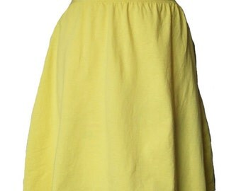 Yellow Cotton Jersey Knit Skirt with a Rolled Waistband