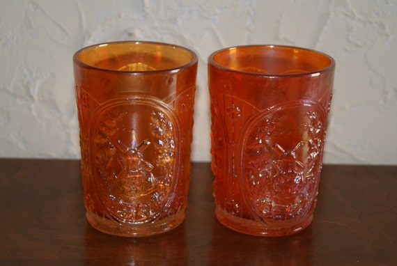 Lot Of 2 Vintage Marigold Carnival Glass Tumblers WINDMILL Pattern By Imperial Glass