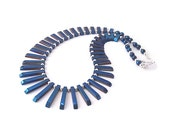 Haematite Gemstone Necklace, Haematite Stone Jewellery, Blue Bib Necklace, Chunky Jewellery Tribal Style Fringe Necklace Semi Precious Stone