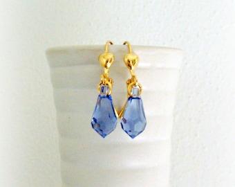 Violet Blue Swarovski Crystal Earrings - Violet Blue Crystal Earrings - Handmade Drop Earrings in Gold