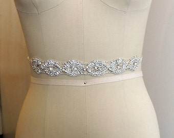 SALE - SOPHIA - Sash, Crystal Beaded Bridal Belt Sash - Rhinestone wedding gown sash - Wedding Dress Belt, Crystal Rhinestone Belt