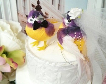 CLEARANCE SALE WEDDING 2016 exotic or tropical yellow and purple wedding bird cake topper or wedding anniversary