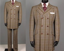 Vintage 1970s Mens Suit -- 70s 6 x 3 Double Breasted Mod Plaid Suit  -- Mid-Weight Men's Size 38/39 Long/Tall