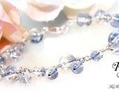 Blue Bracelet, Crystal Bridal Bracelet, Wedding Jewelry, Something Blue Bracelet, Crystal Bridal Bracelet, Wire Wrapped Bracelet