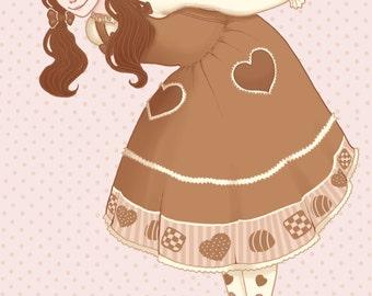 Chocolate Lolita Print brown pigtails Kawaii Sweet Lolita Original Art