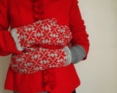Hand knit women's mittens grey with red signs