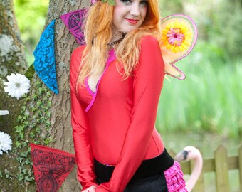 SALE red lycra long sleeve top - fairylove