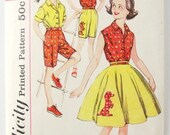 Simplicity 3456 Vintage 1960s Pattern for Girl's Blouse Poodle Skirt and Burmuda Shorts Size 10 COMPLETE w/ transfer