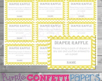 Yellow Diaper Raffle Cards, Chevron, Yellow Chevron, Diaper Raffle Cards, Baby Shower, Baby Shower Games, Printable, INSTANT DOWNLOAD