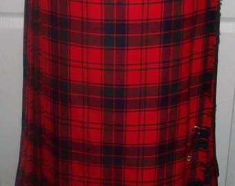 Sibley's Maxi Kilt Plaid Skirt  - 100% Wool - Unlined - Made in England - Red Black