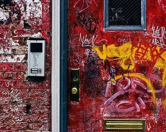 red door - fine art photography, 4x6 5x7 8x10, brooklyn new york city nyc city architecture door
