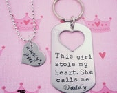 This Girl Stole My Heart She Calls Me Daddy Keychain and Necklace Set, Daddy Daughter Gift, Father's Day, Daddy's Girl, Valentines Day Gift