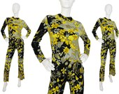 Leonard 1960s Vintage Flower Power Pant Suit 100% Silk Psychedelic Florals Yellow US 6 Small