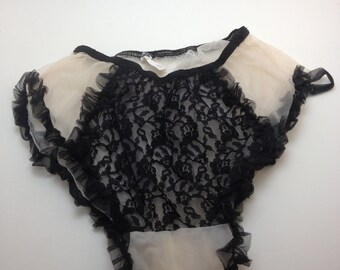 Bettie Page panties Hollywood Star black lace sheer white fetish photo shoot size S/XS need repair